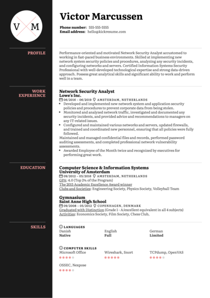 Network Security Analyst Resume Example