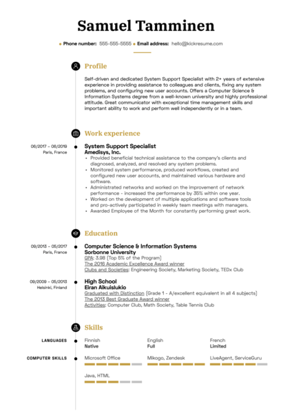 System Support Specialist Resume Example