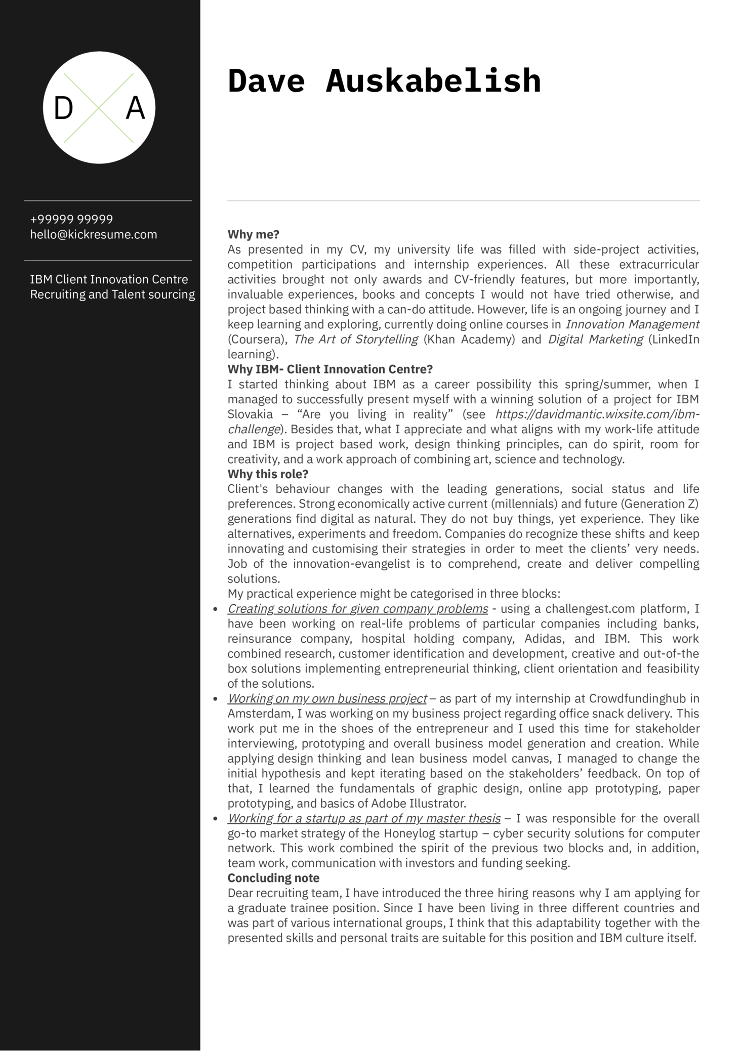 IBM Junior Product Manager Cover Letter Sample (Part 1)