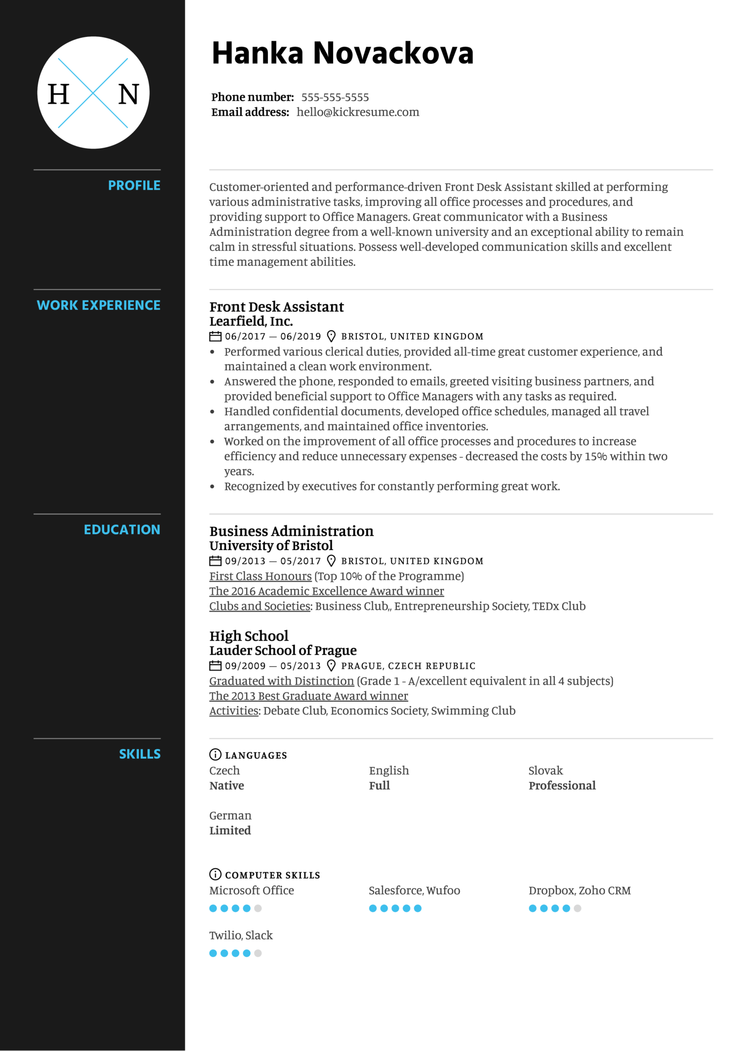 Front Desk Assistant Resume Example (Part 1)