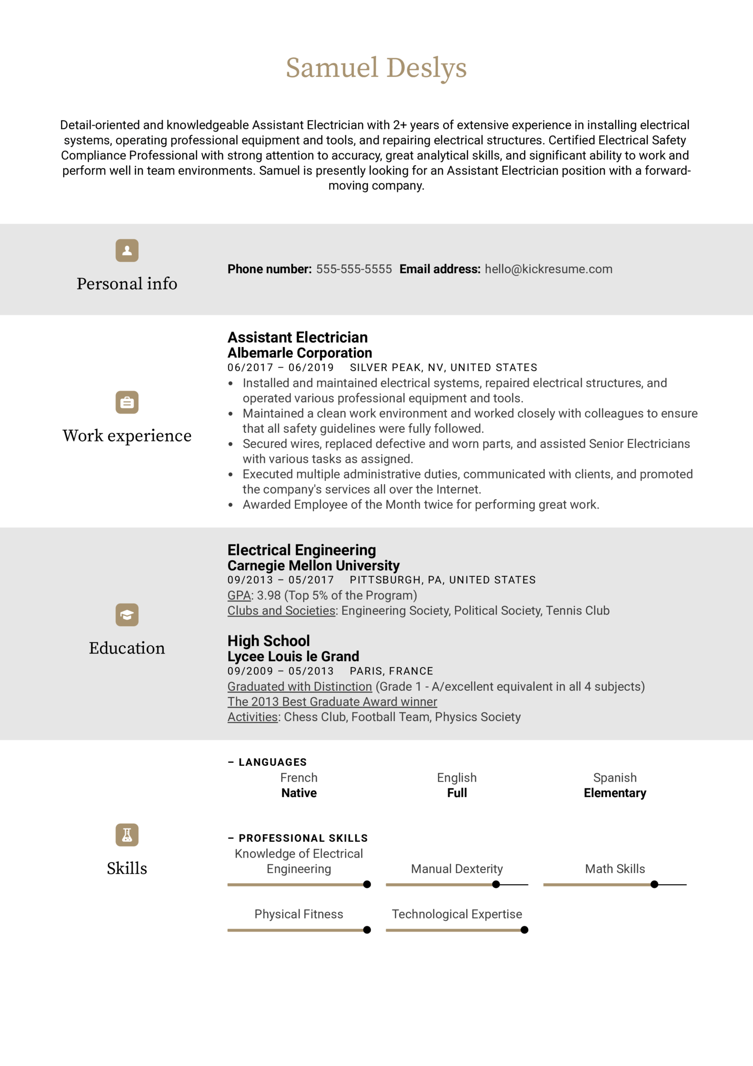 Assistant Electrician Resume Sample (Teil 1)