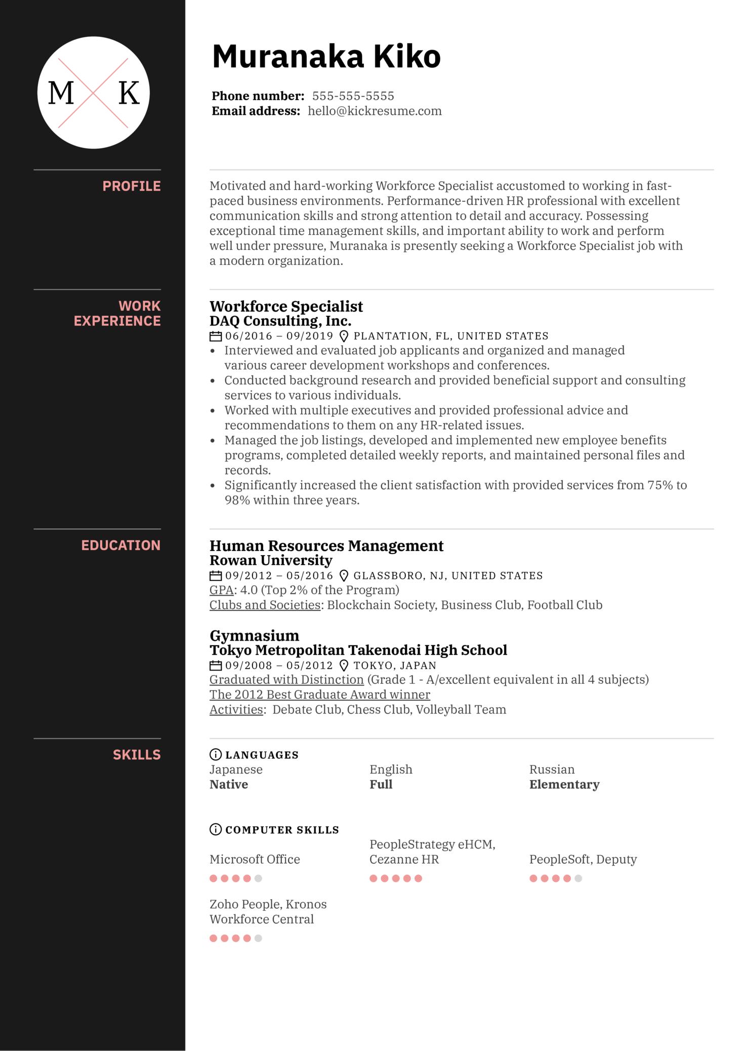 Workforce Specialist Resume Sample (Teil 1)