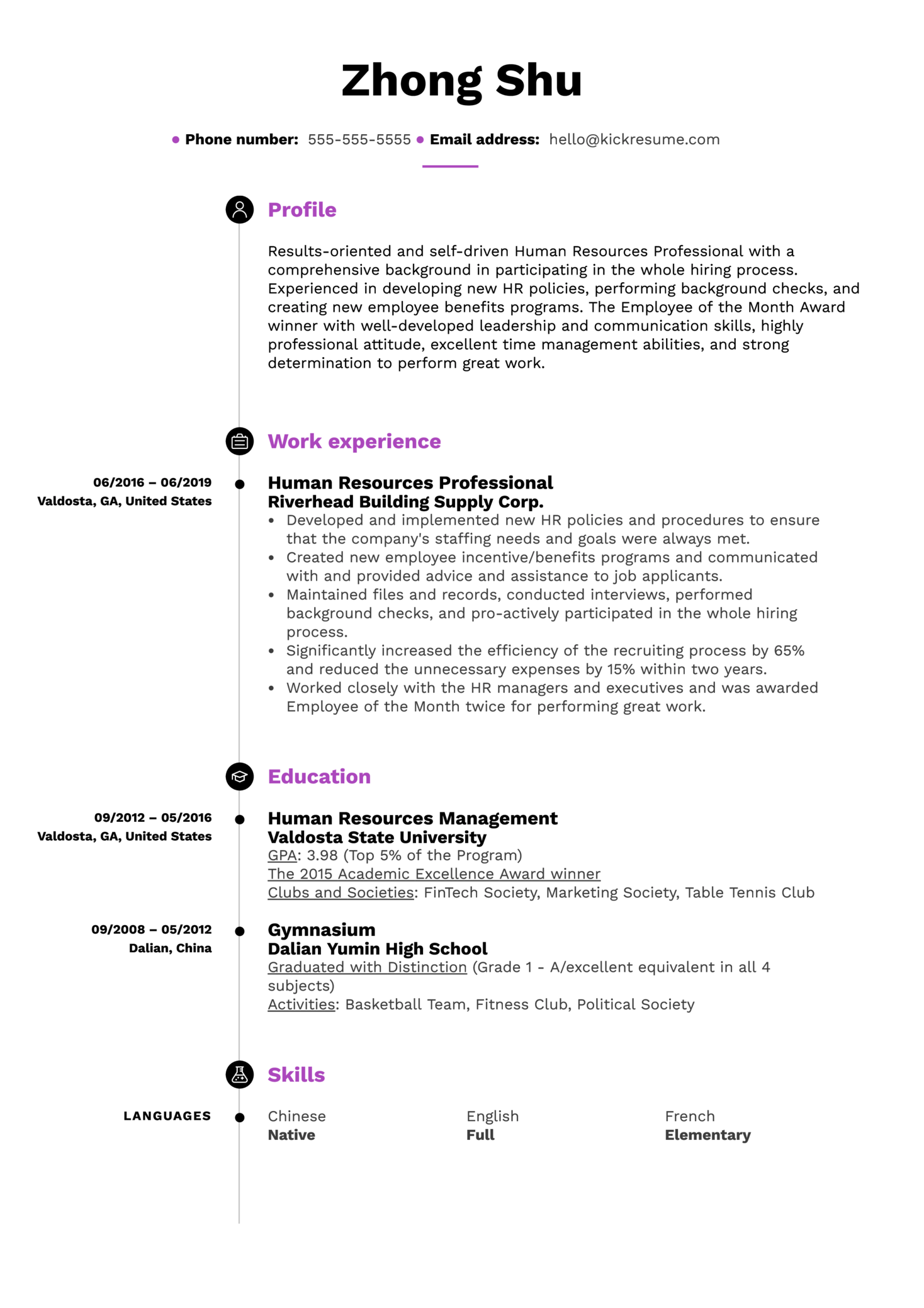 Human Resources Professional Resume Example (Teil 1)