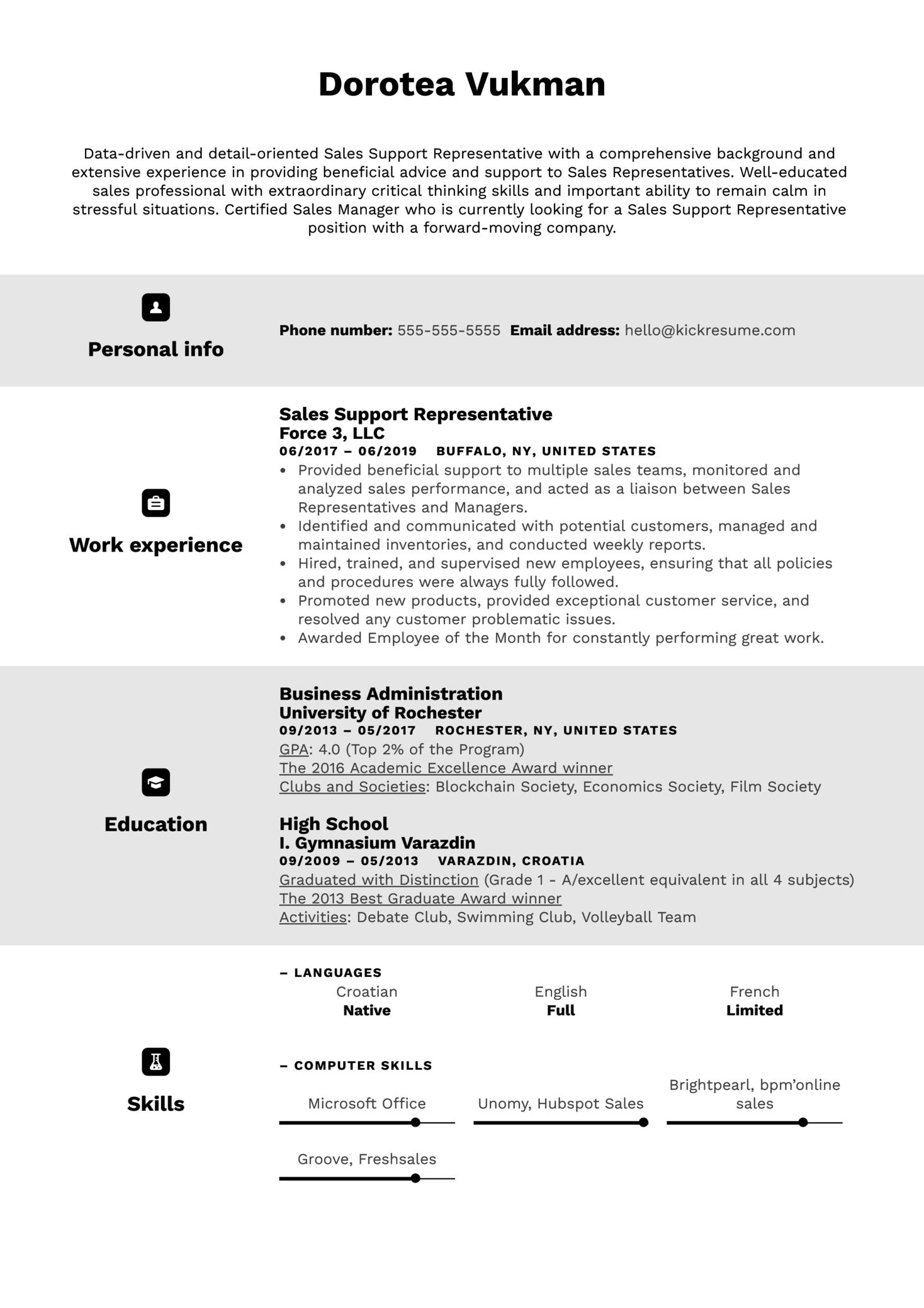 Sales Support Representative Resume Example (Part 1)