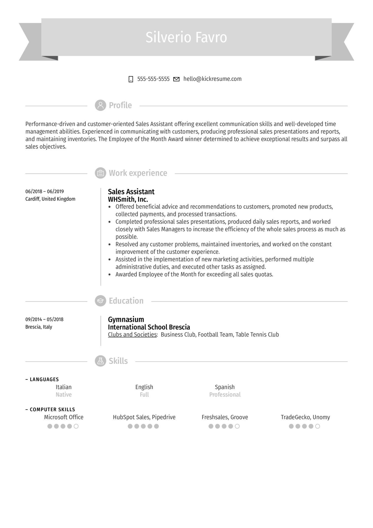 Sales Assistant Resume Sample (Parte 1)
