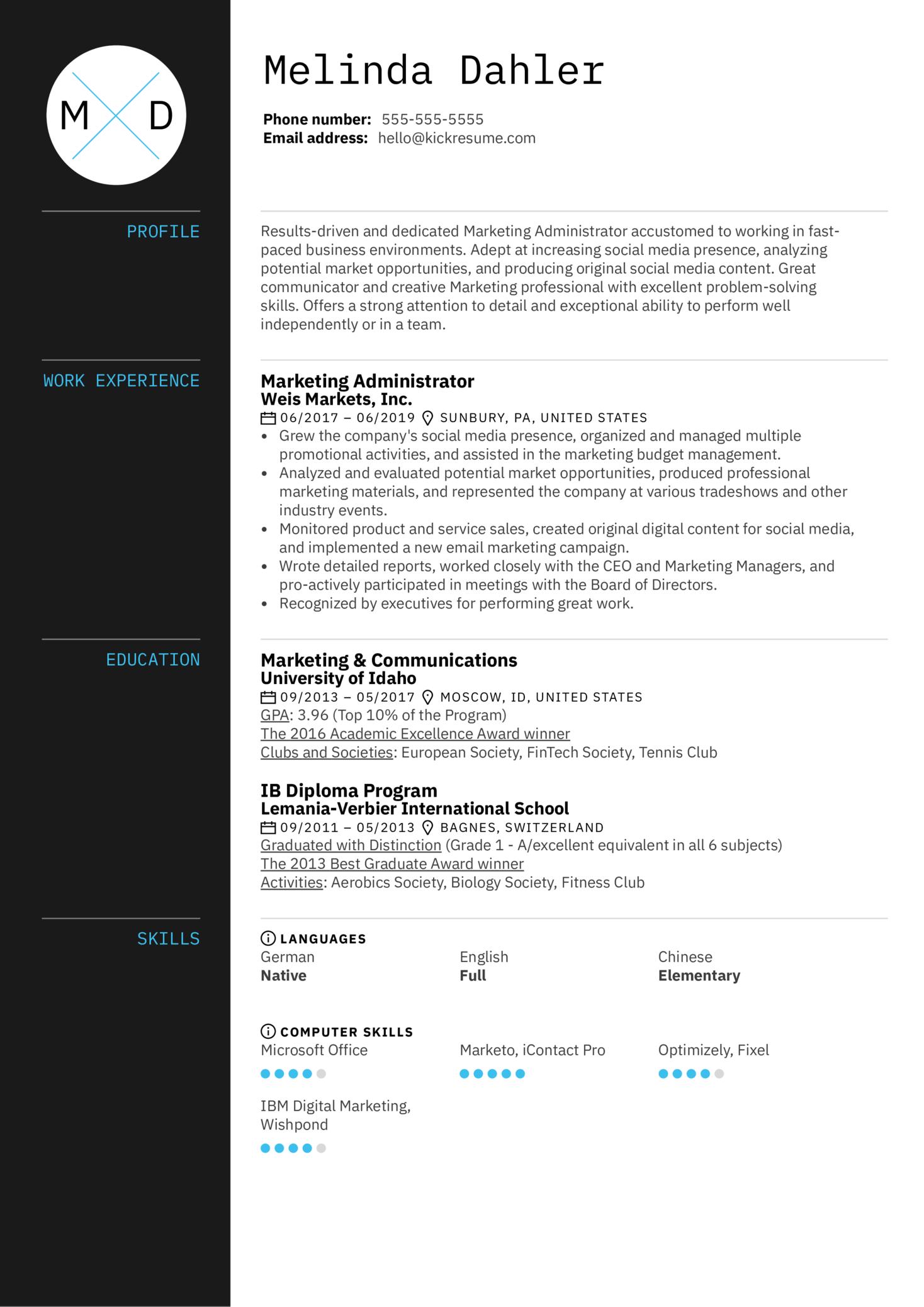 Marketing Administrator Resume Example (Part 1)