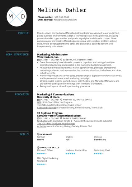 Marketing Administrator Resume Example