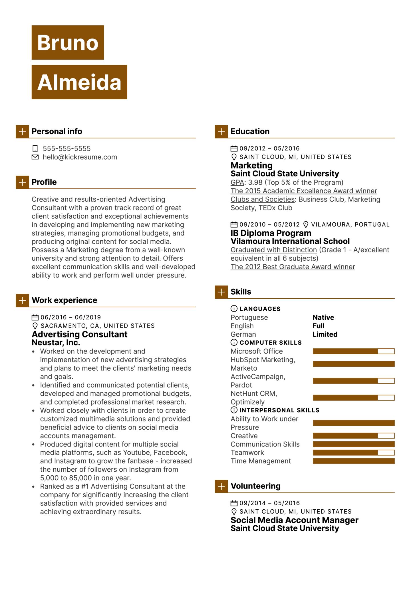 Advertising Consultant Resume Example (Parte 1)