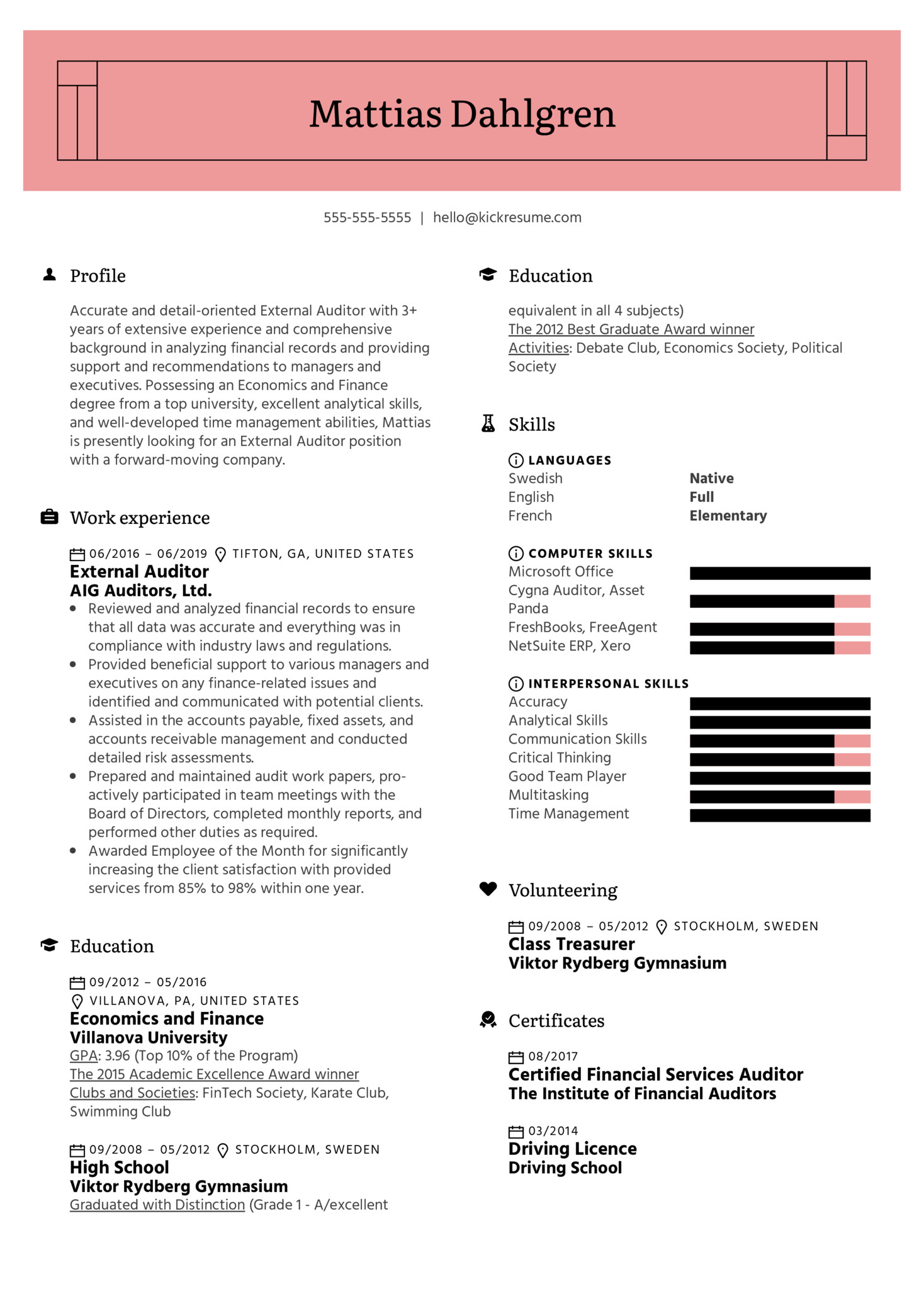 External Auditor Resume Example (Part 1)