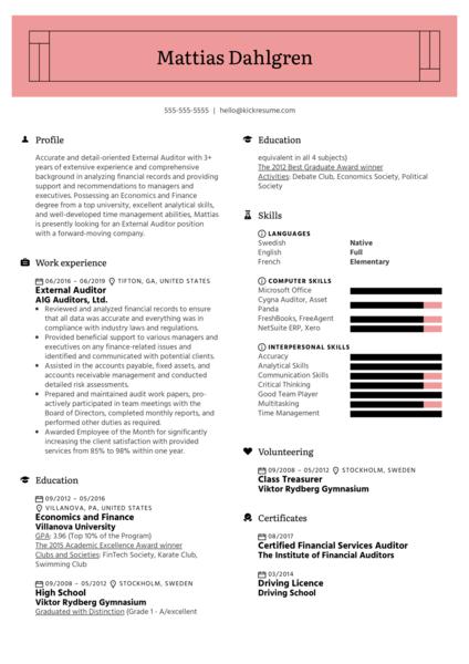 External Auditor Resume Example