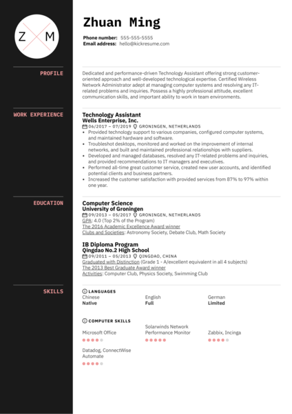 Technology Assistant Resume Sample
