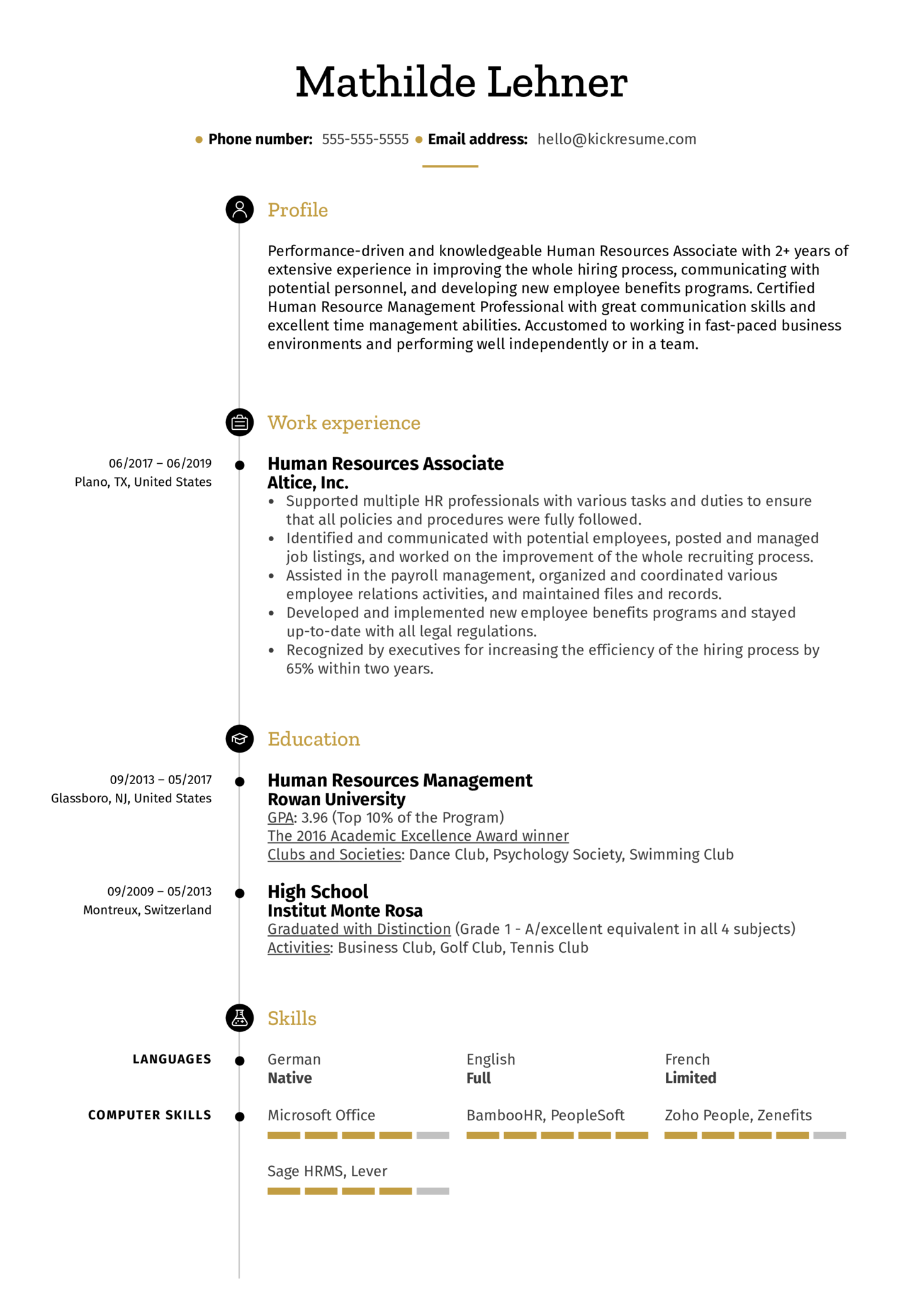 Human Resources Associate Resume Example (Teil 1)