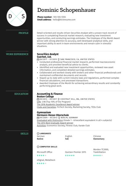 Securities Analyst Resume Sample
