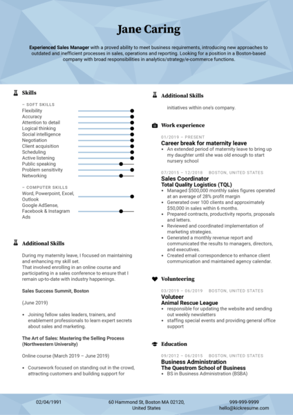Maternity Leave Sales Manager Resume Sample