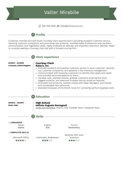 Courtesy Clerk Resume Example