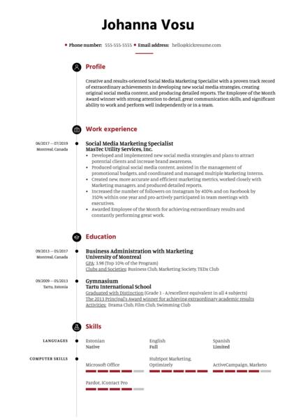 Social Media Marketing Specialist Resume Example