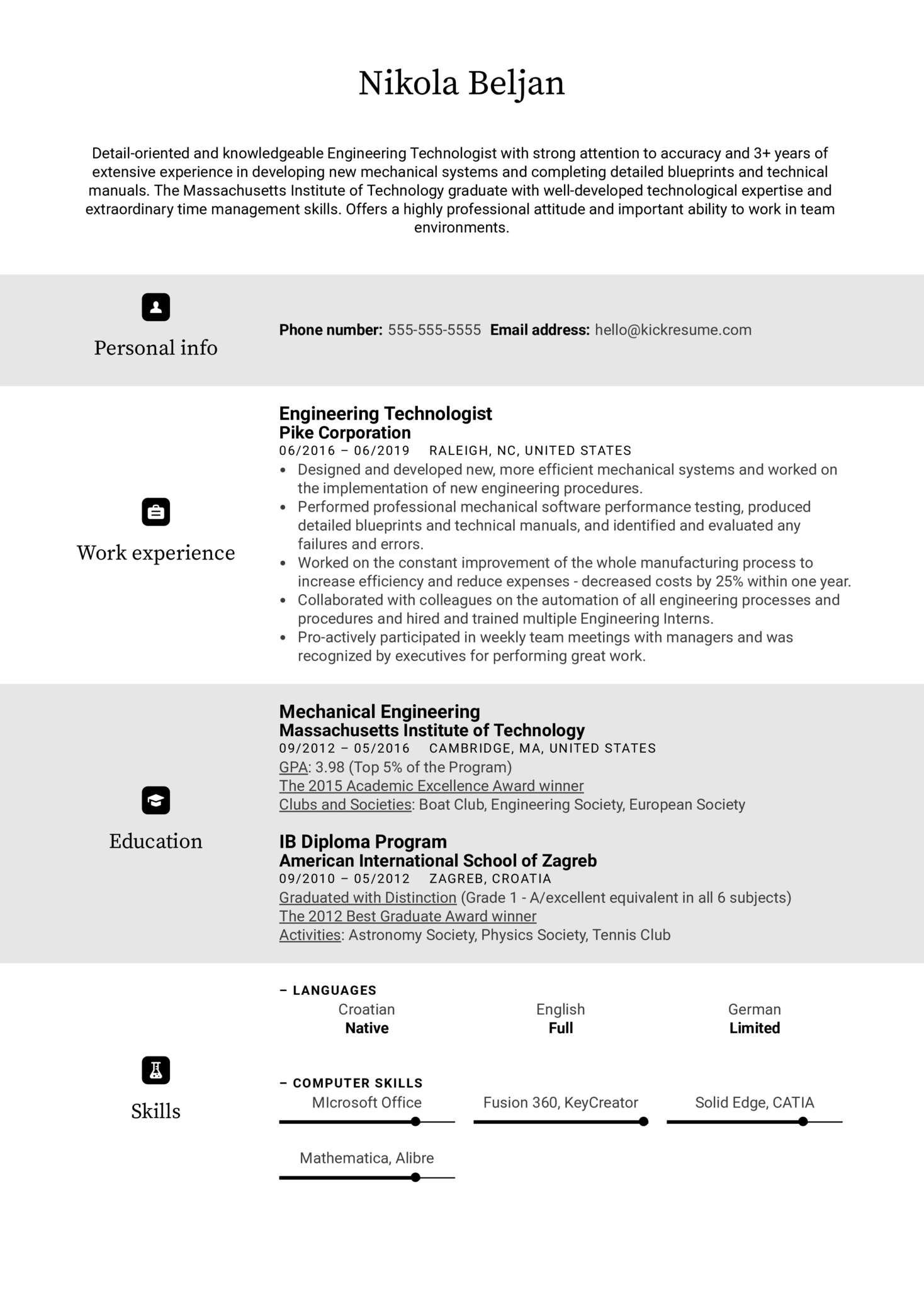 Engineering Technologist Resume Sample (Part 1)