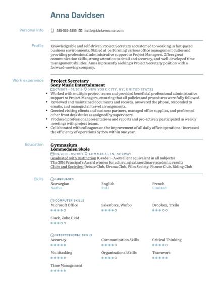 Project Secretary Resume Sample