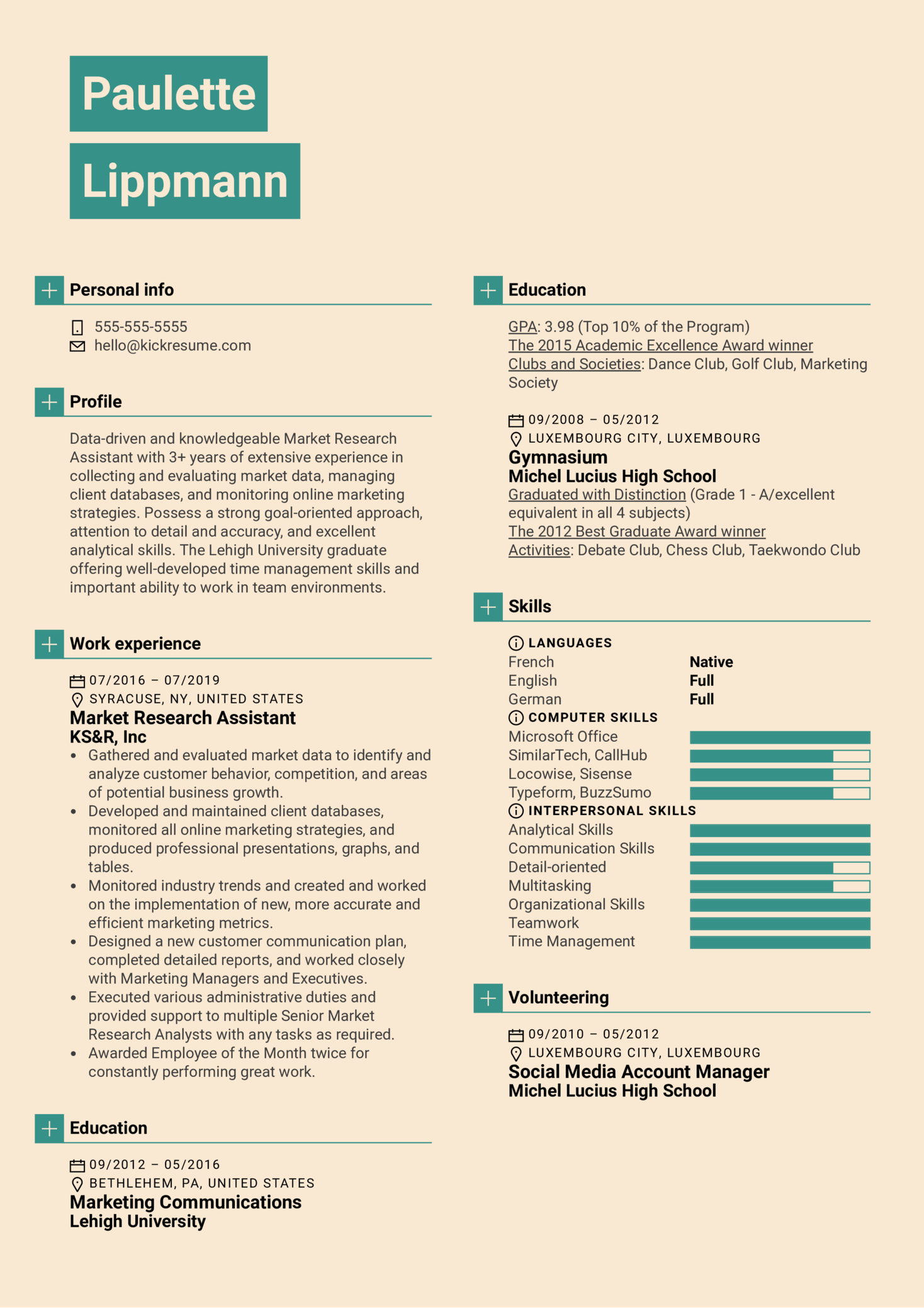 Market Research Assistant Resume Sample (Part 1)