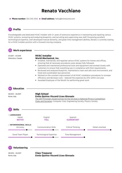 HVAC Installer Resume Example