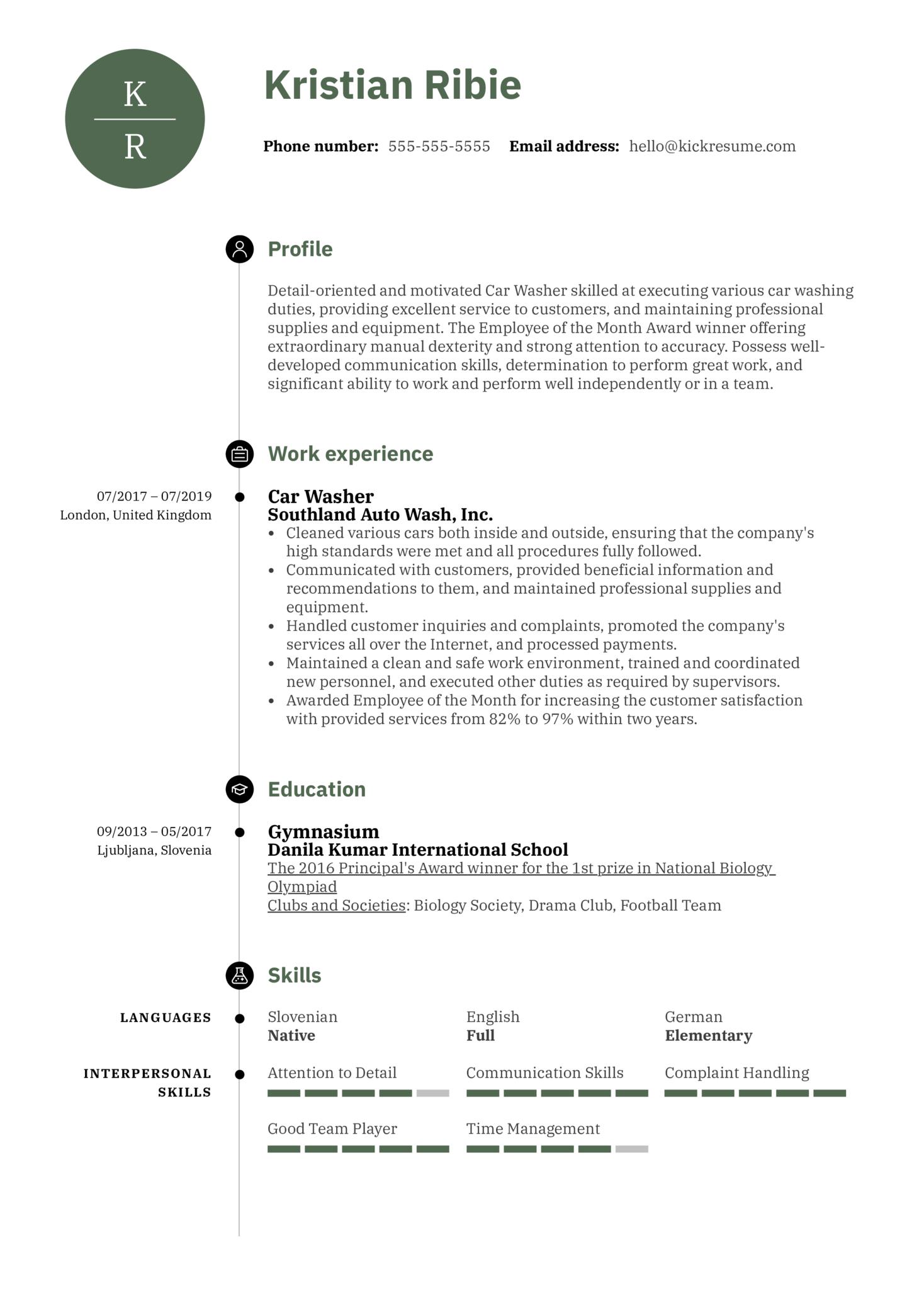 Car Washer Resume Sample (parte 1)