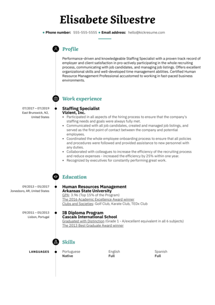 Staffing Specialist Resume Example