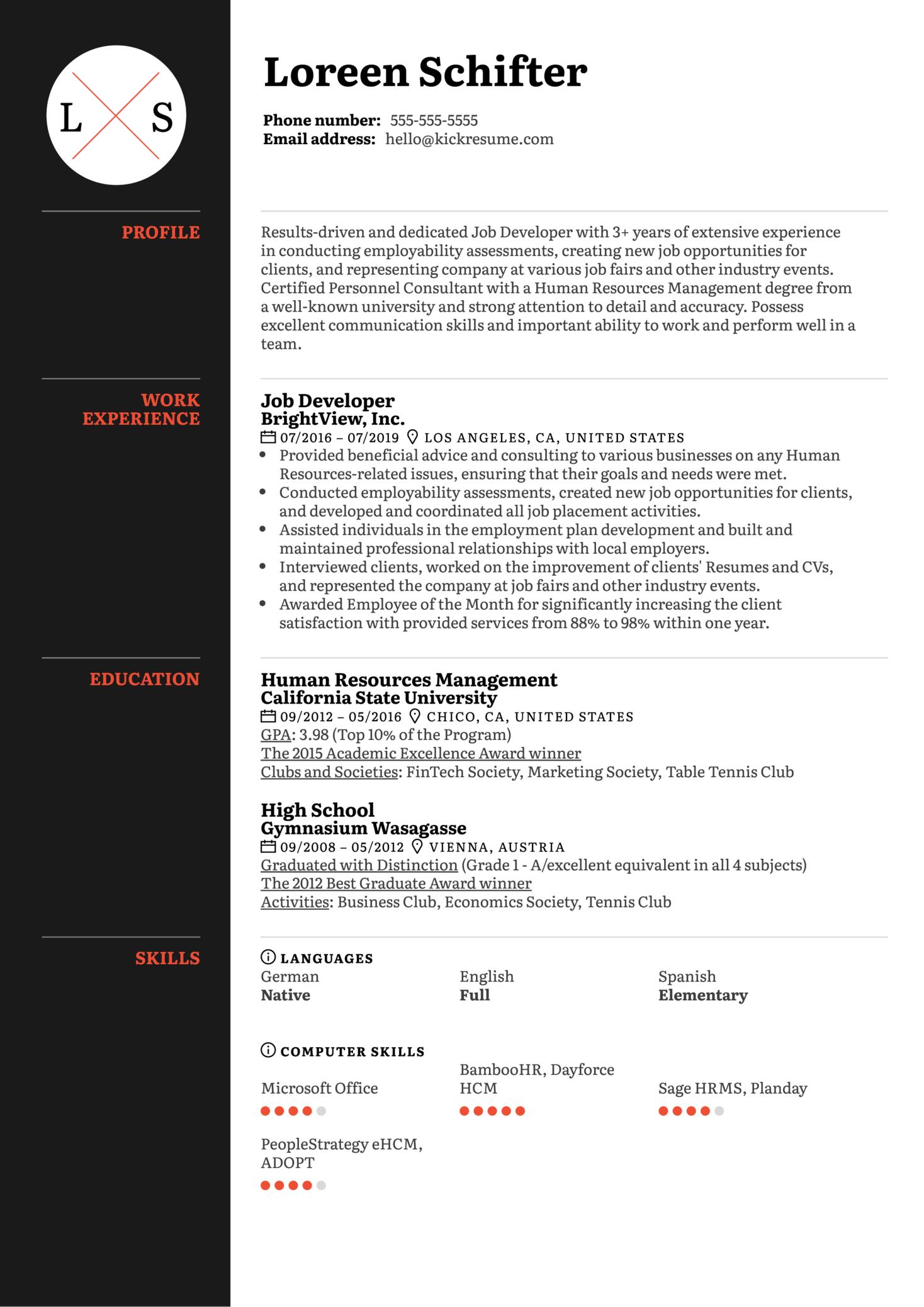 Job Developer Resume Sample (časť 1)