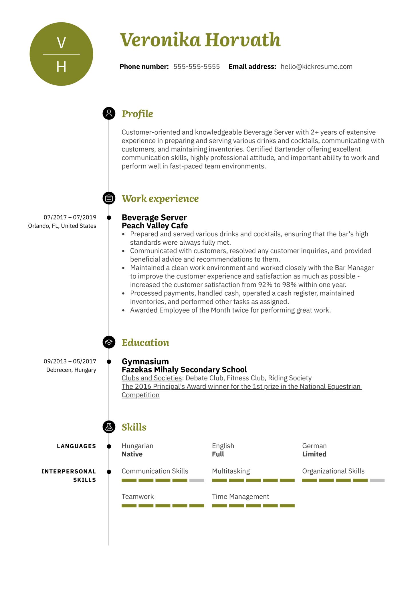 Beverage Server Resume Example (Part 1)