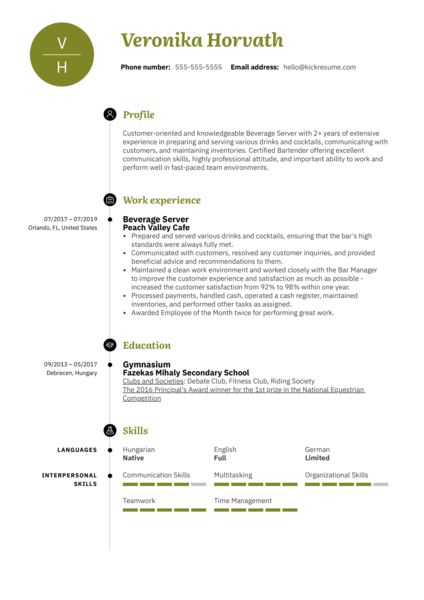Beverage Server Resume Example