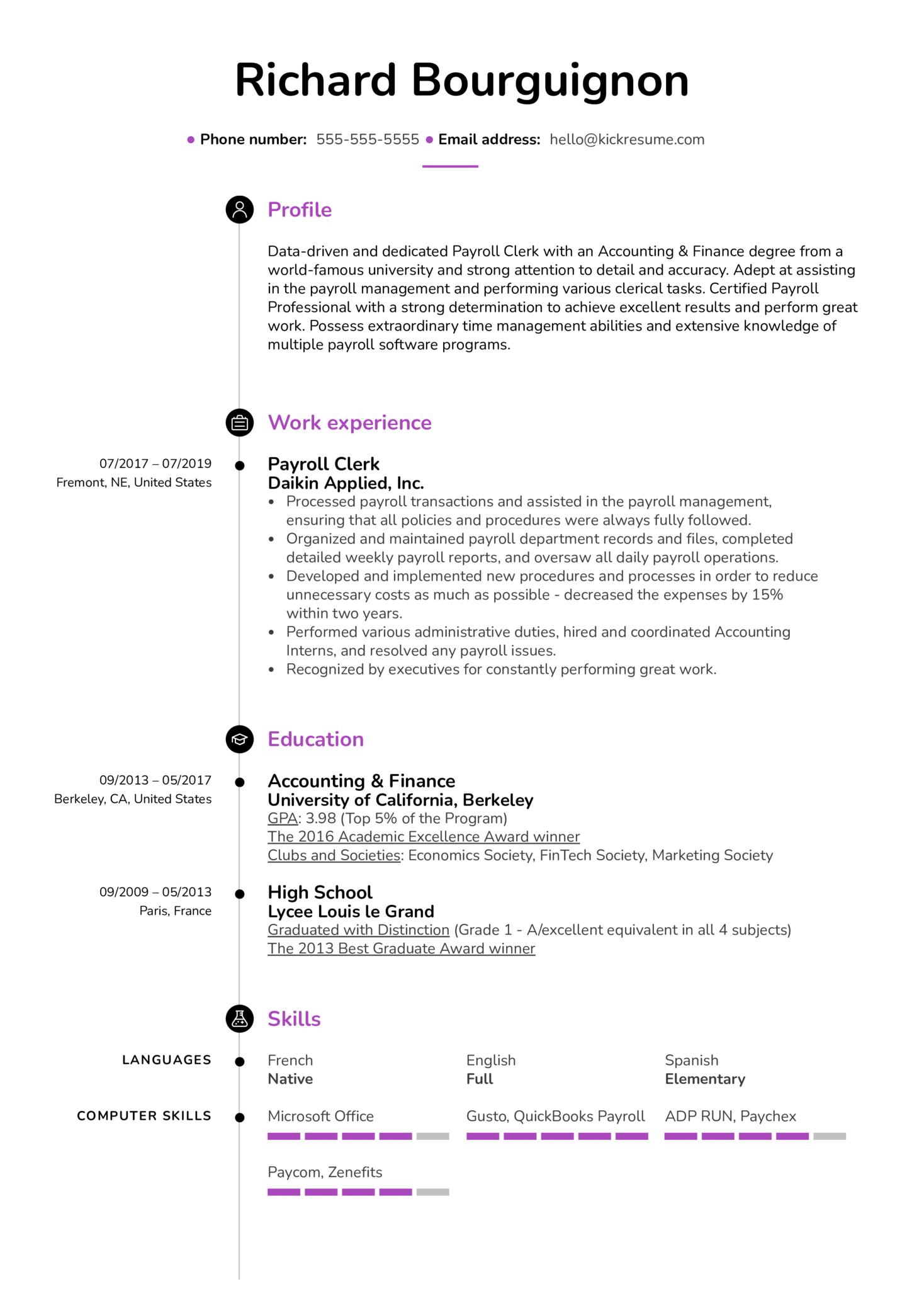 Payroll Clerk Resume Example (Part 1)