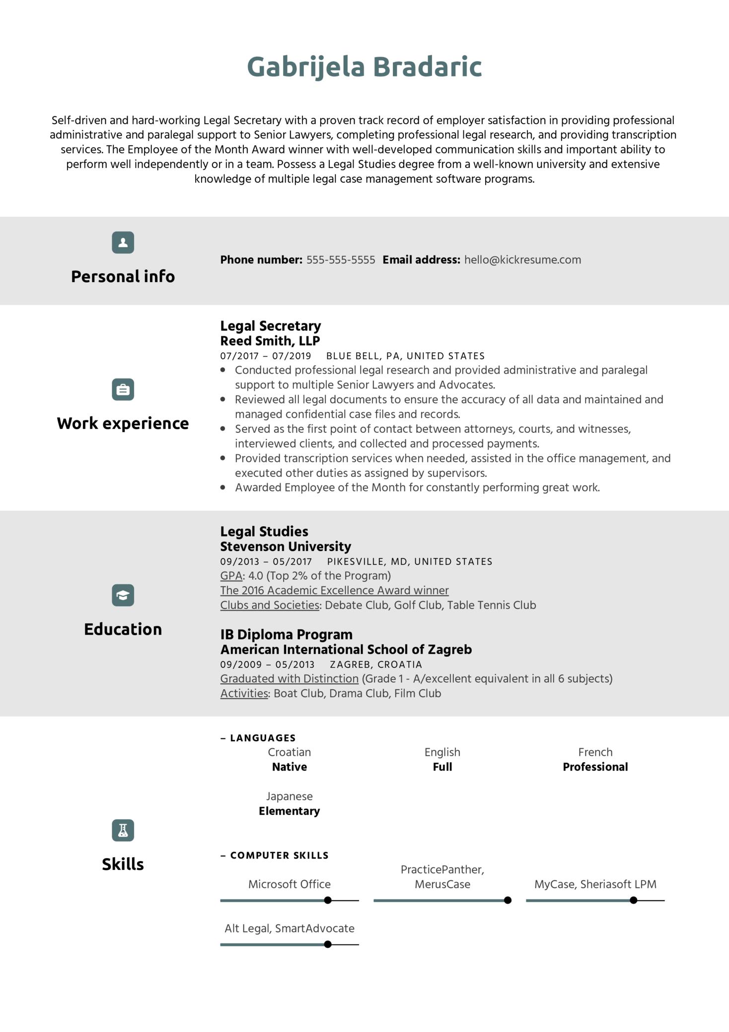Legal Secretary Resume Example (časť 1)