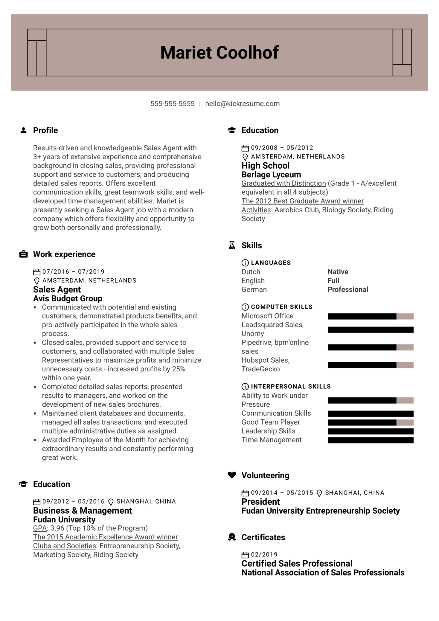 Sales Agent Resume Example (parte 1)