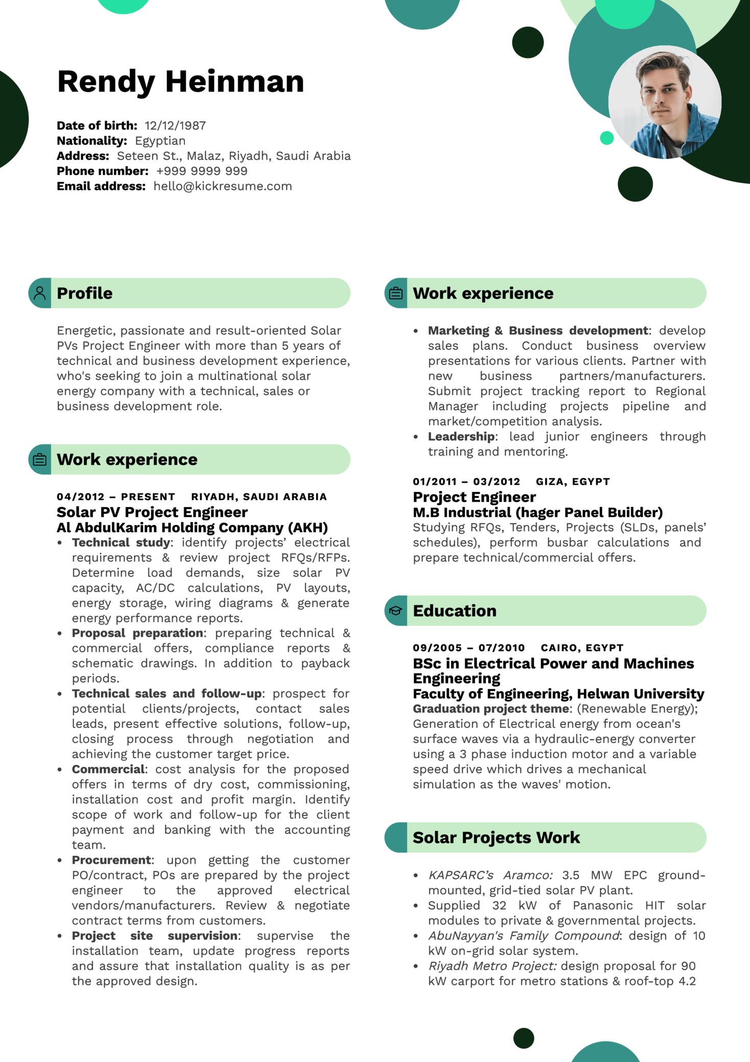 Business Development Engineer Resume Sample (Teil 1)