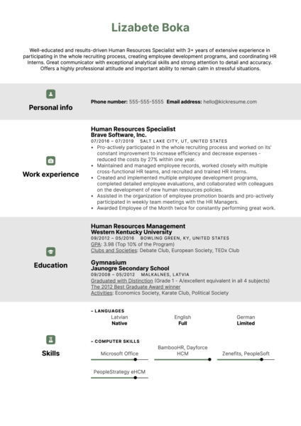 Human Resources Specialist Resume Example