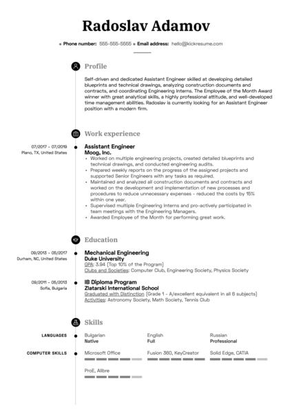 Assistant Engineer Resume Example