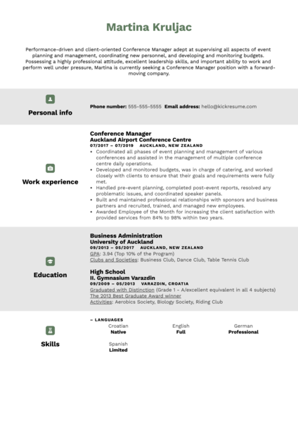 Conference Manager Resume Sample