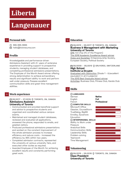 Admissions Assistant Resume Example