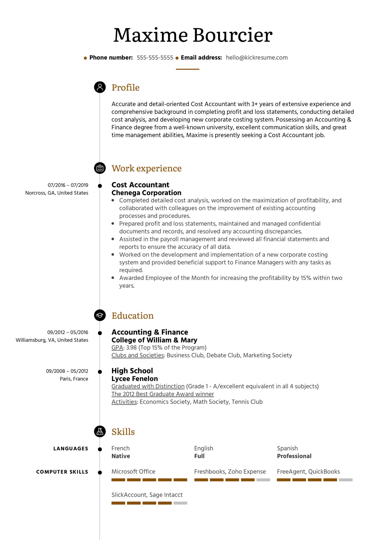 Cost Accountant Resume Example (časť 1)