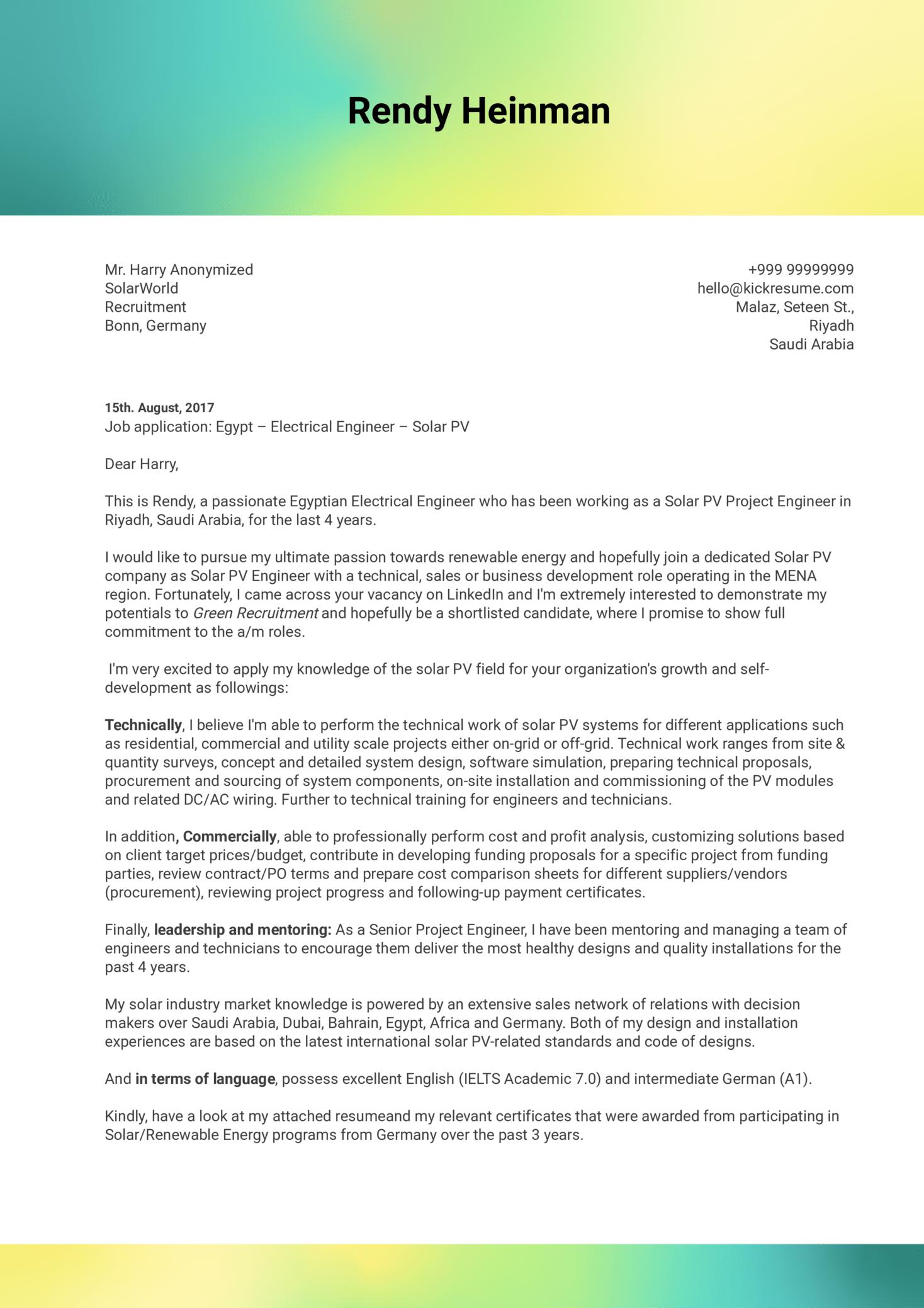 Business Development Engineer Cover Letter Sample (parte 1)