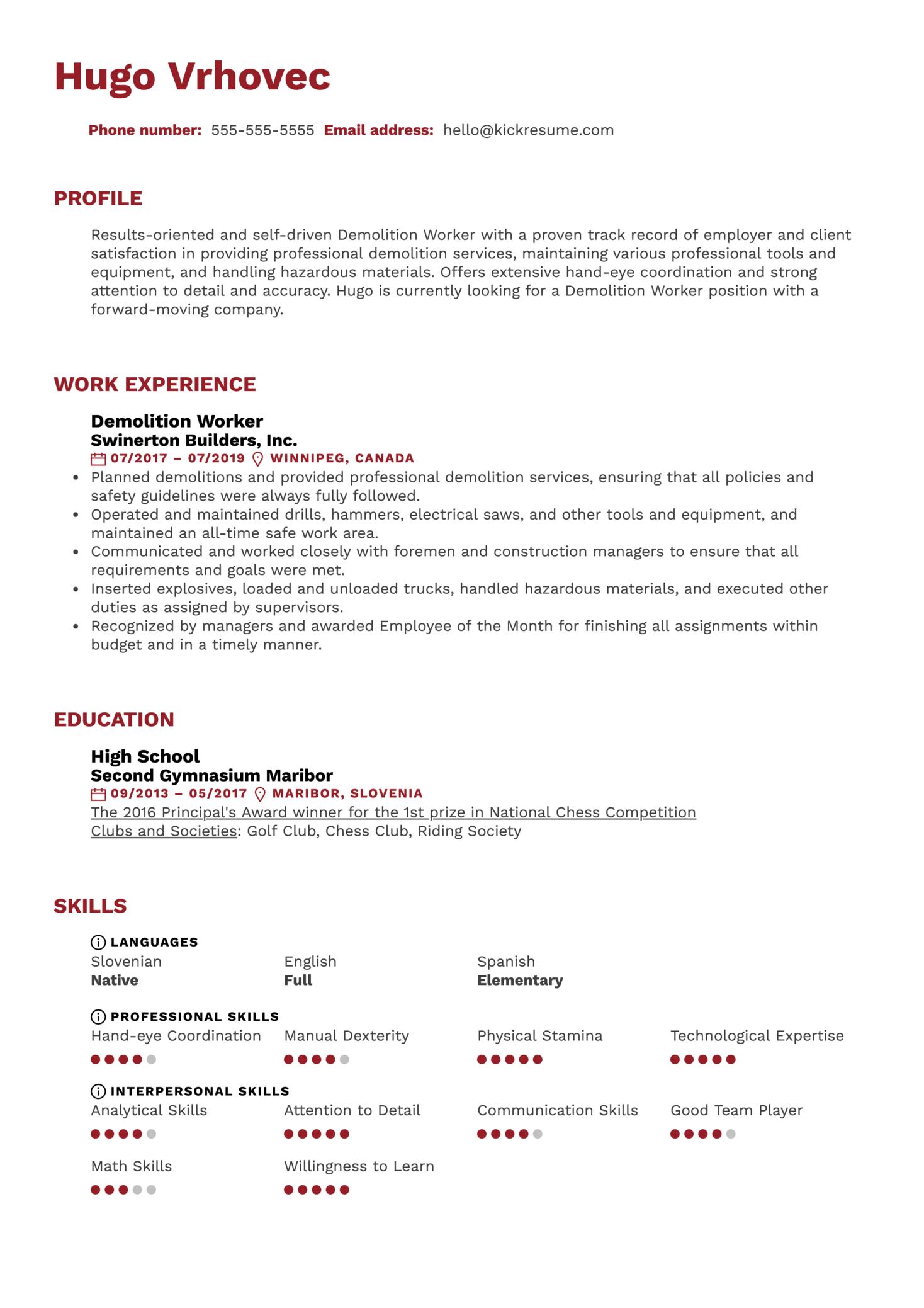 Demolition Worker Resume Sample (Part 1)