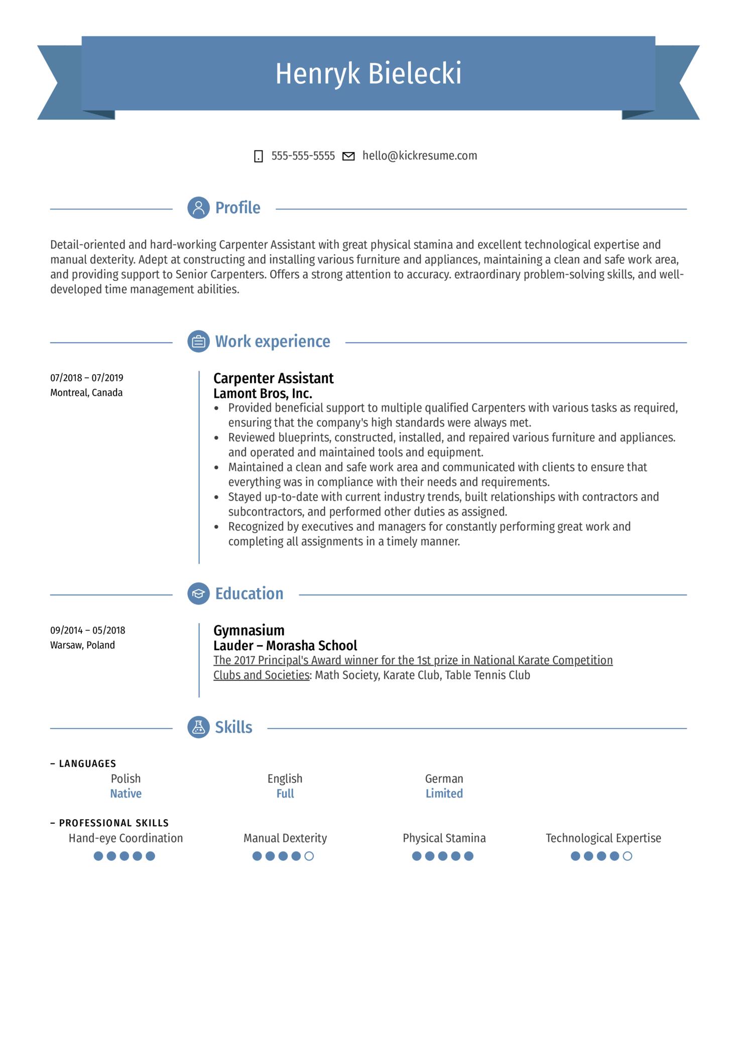 Carpenter Assistant Resume Sample (Part 1)