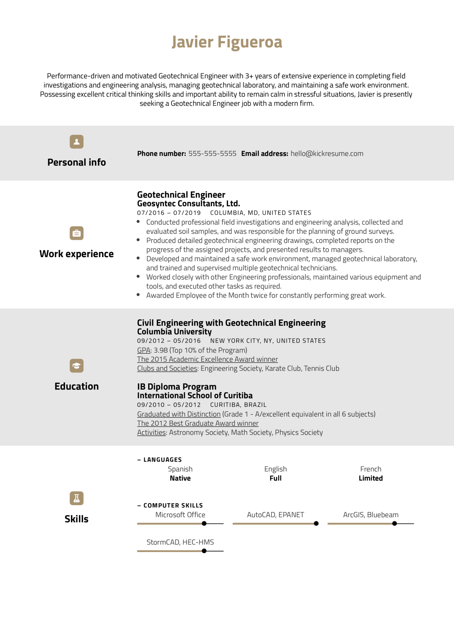 Geotechnical Engineer Resume Example (parte 1)