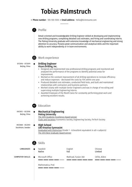Drilling Engineer Resume Sample
