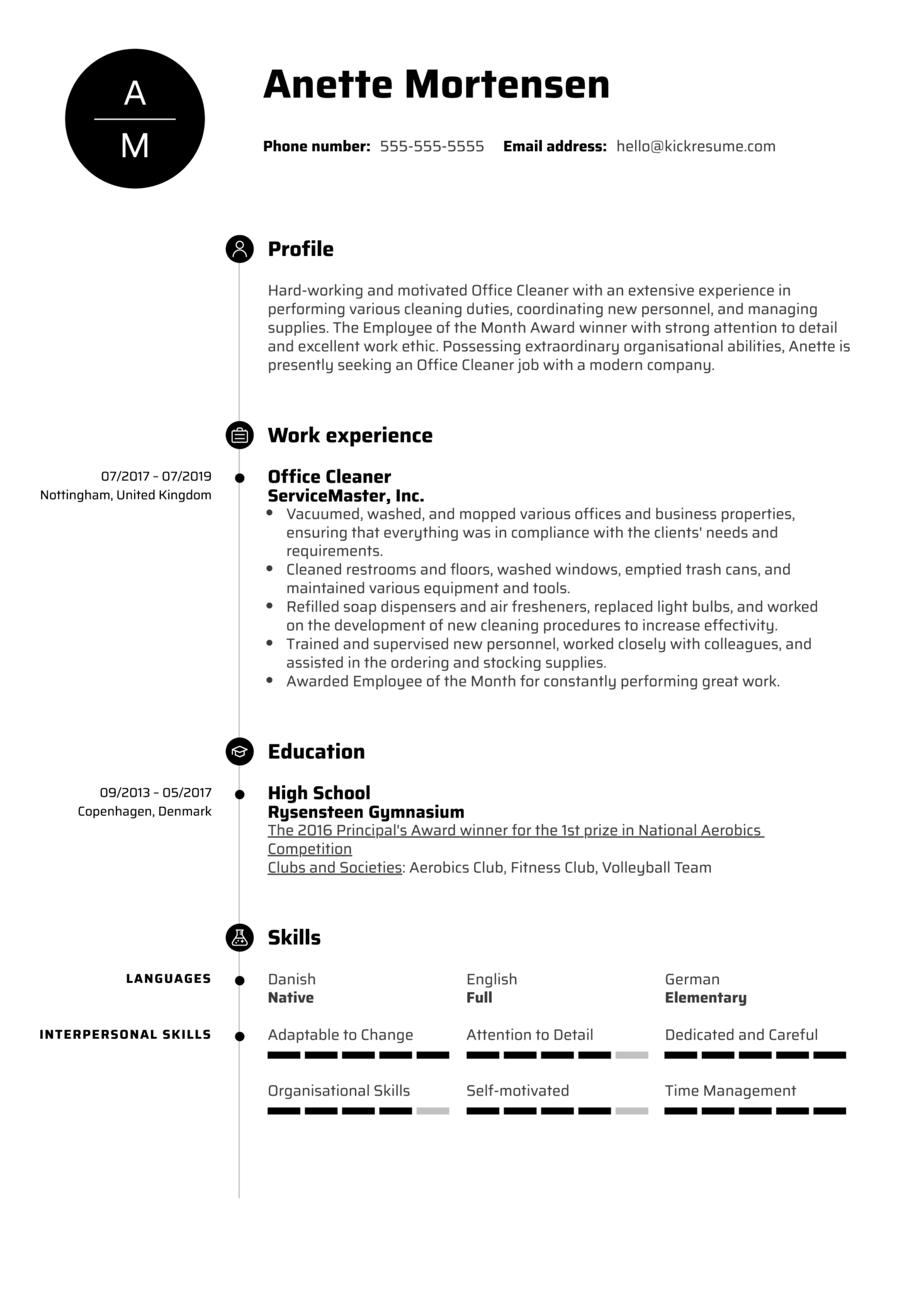 Office Cleaner Resume Example (parte 1)