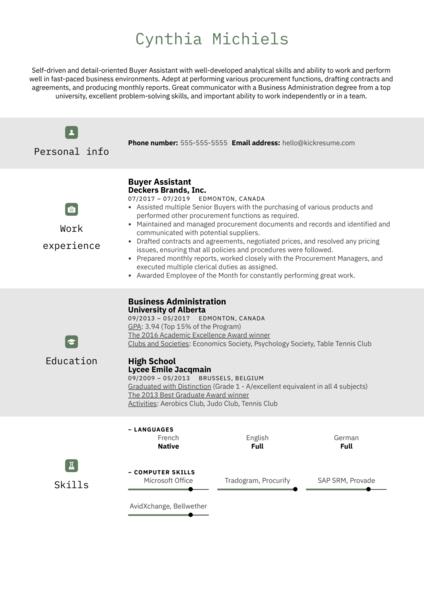 Buyer Assistant Resume Sample