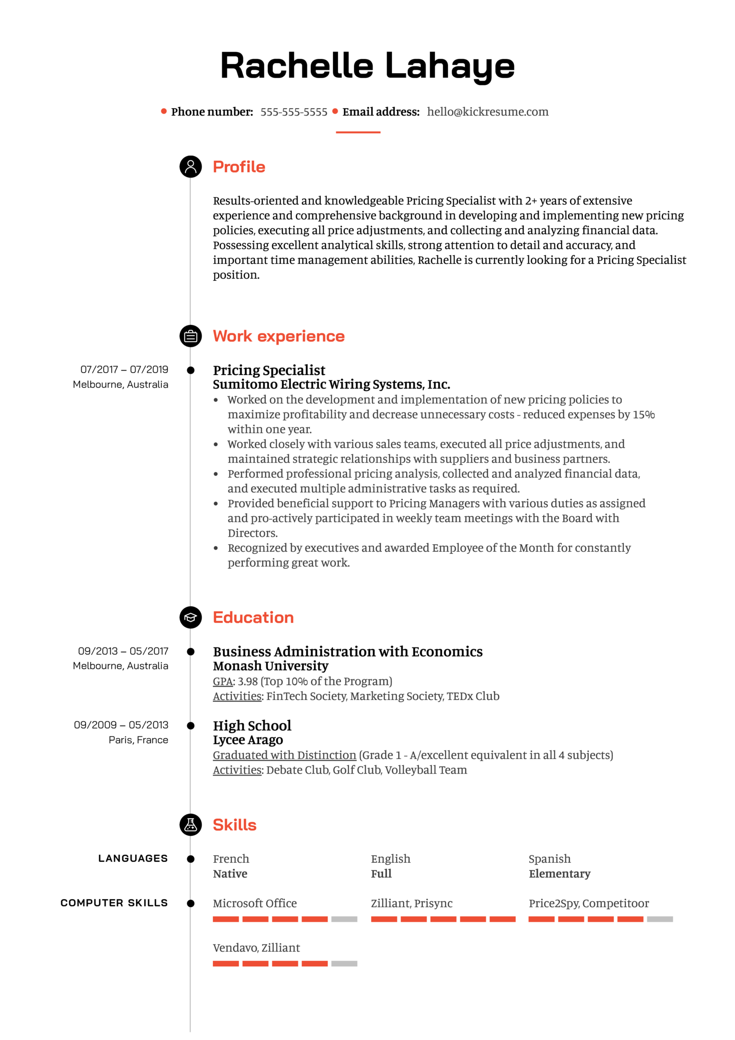 Pricing Specialist Resume Example (parte 1)