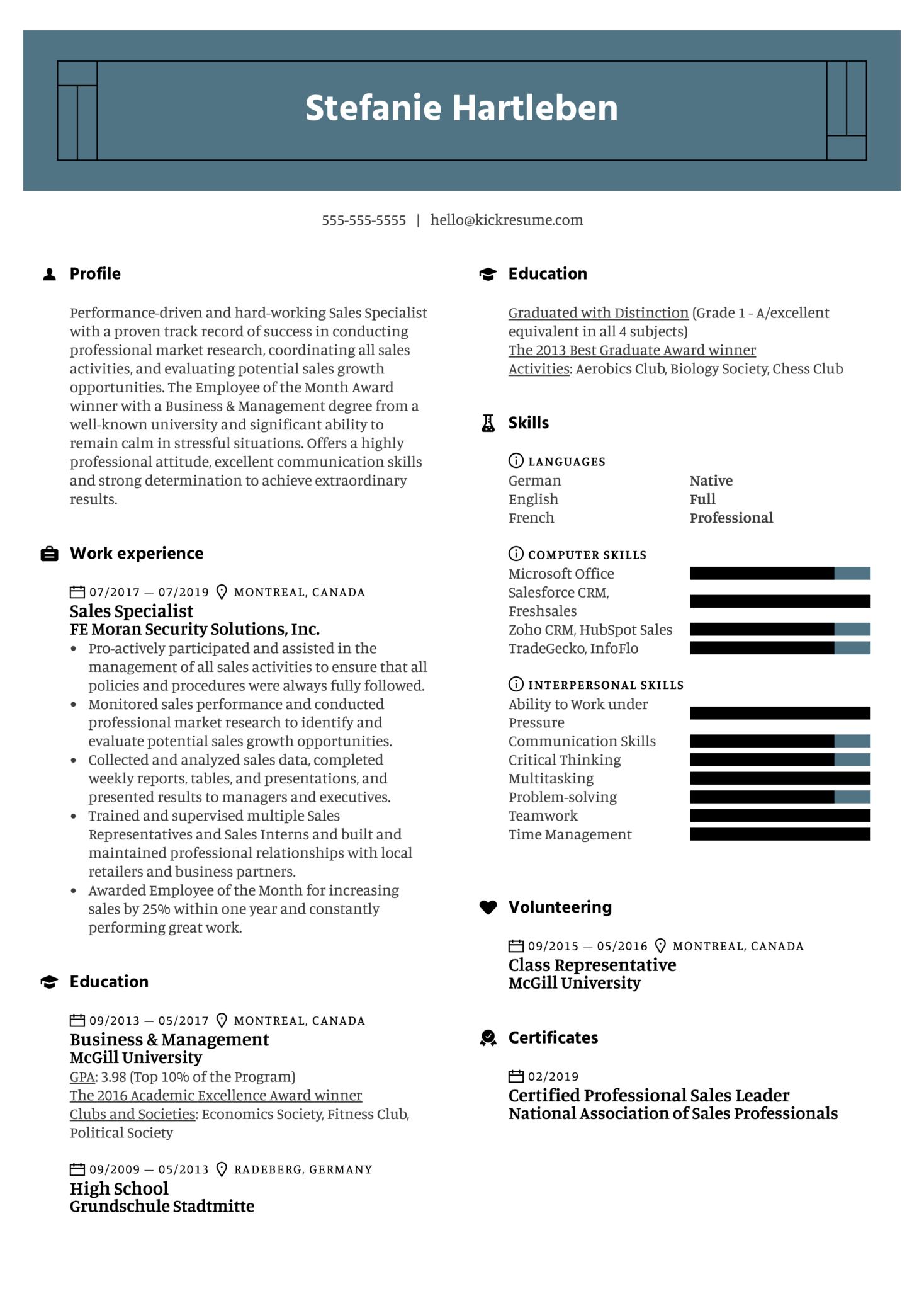 Sales Specialist Resume Example (Part 1)