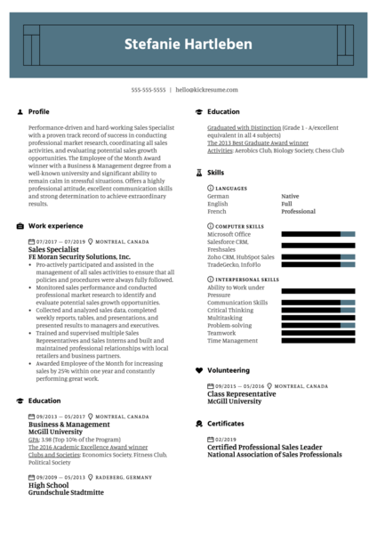 Sales Specialist Resume Example