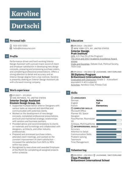 Interior Design Assistant Resume Example