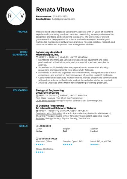Laboratory Assistant Resume Sample